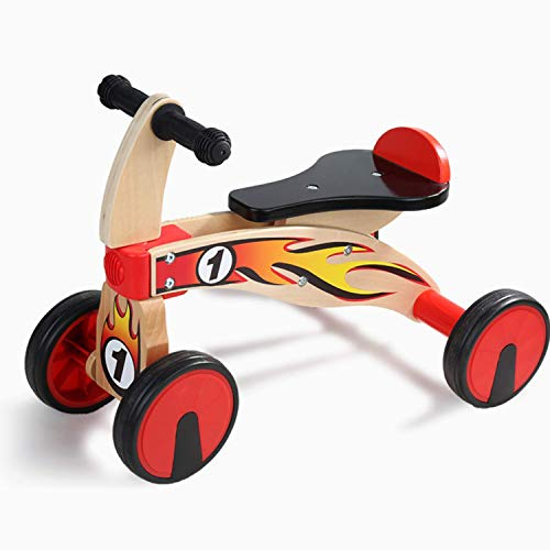 TOP BRIGHT Baby Balance Bike 1 Year Old,Baby's First Bike First Birthday Gift,Wooden Baby Bike 4 Wheels