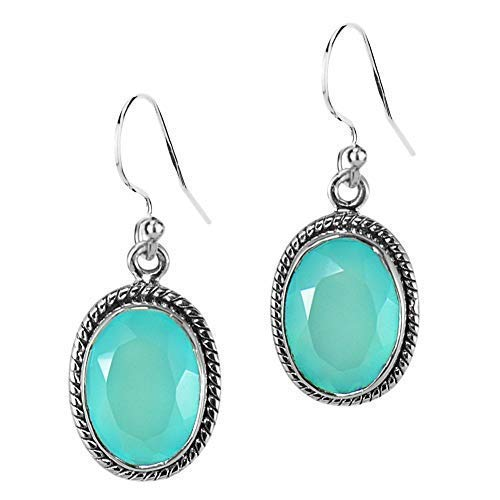 Genuine Blue Turquoise Sterling Silver  Oval Dangle Earrings Beaded Detail USA