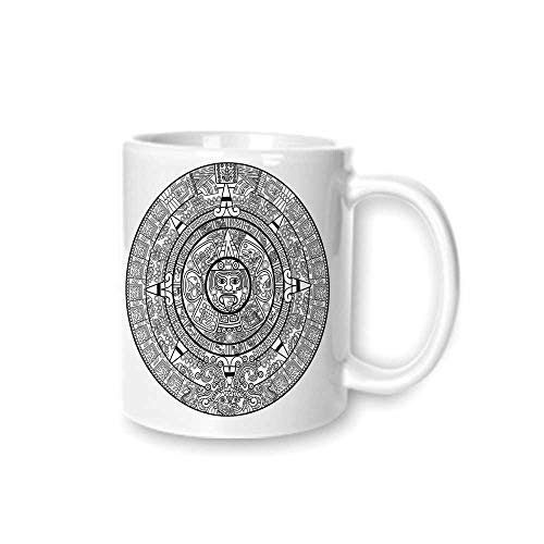 - Mesoamerican Decor Practical Mark Cup,Maya Calendar Illustration Accurate Antiquities Astrological Aztec Geometric Indigenous For Hold Water,Z(diameter)8.2G9.5