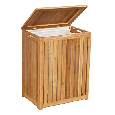 Oceanstar Spa-Style Bamboo Laundry Hamper - Rectangular design for contemporary style Solid wood construction for durability Laundry hamper comes with canvas liner and two metal rods - laundry-room, hampers-baskets, entryway-laundry-room - 41CK1VDcKVL. SS400  -