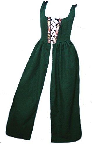 Faire Lady Designs Women's Renaissance Costume Irish Over Dress Green (XL - Bust: 45