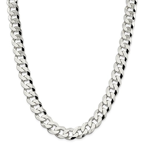 925 Sterling Silver 14mm Beveled Curb Chain Necklace 22inch by Diamond2Deal