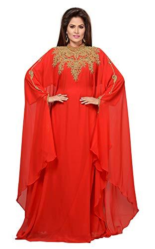 ANIIQ Georgette Hand Stitched Embroidered Farasha Kaftan Long Evening Dress with Free Hijab (Red)