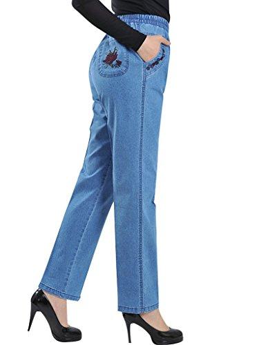 Femmes tendue haute Jeans Bigassets Bleu Clair Denim Taille 7dwtqqC