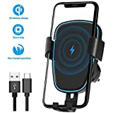 Wireless Car Charger Mount, Quntis Qi Certified Wireless Charging Holder,Automatic Clamping 5W/7.5W/10W Air Vent Mount Compatible for iPhone Xs Max/Xs/Xr/X/8/8+,Samsung Galaxy S9/S9+/S8/S8+/S7/S6 Edge