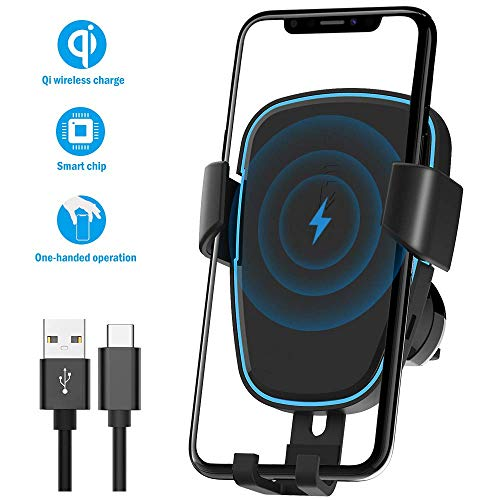 Mount,Quntis Qi Certified Wireless Charging Holder,Automatic Clamping 5W/7.5W/10W Air Vent Mount Compatible for iPhone Xs Max/Xs/Xr/X/8/8+,Samsung Galaxy S9/S9+/S8/S8+/S7/S6 Edge ()