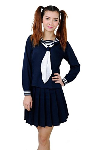 ROLECOS Womens Sailor School Uniform Dress Navy Blue M Size GC47A