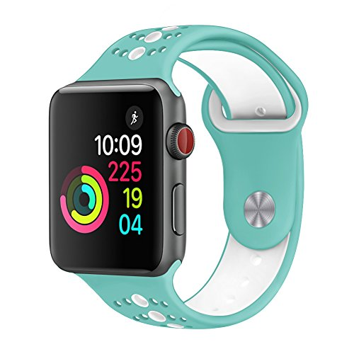 GHIJKL Sports Band Compatible for Apple Watch 44mm 42mm, Soft Silicone Replacement iWatch Wristband Compatible for Apple Watch Sport, Series 1, 2, 3, 4-Teal/White-42mm, 44mm