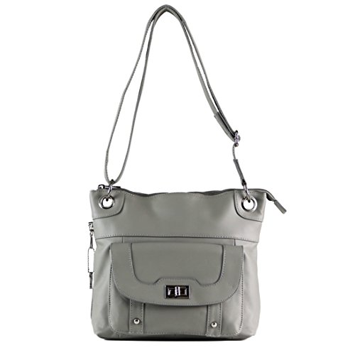 Roma Purse Bag Leathers Crossbody Concealed by Gun Pocket Gray Carry Twist Lock zSWpgwEBq