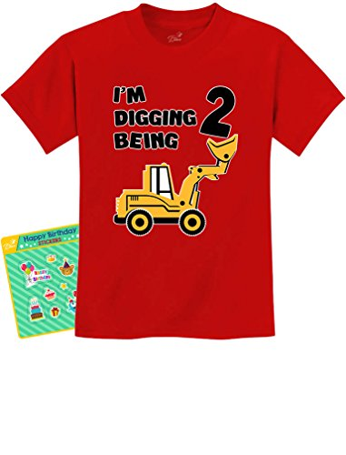 2nd Birthday - Bulldozer Construction Party Toddler Toddler/Infant Kids T-Shirt 4T Red -