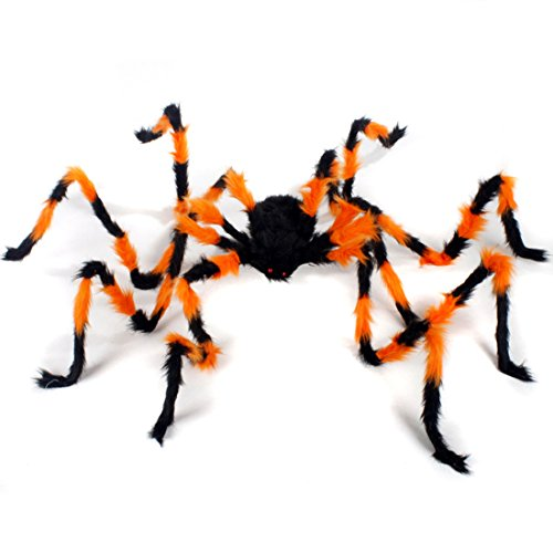 Spider Decorations, Halloween Spiders, Annymall Outdoor Halloween Spider, Hairy Poseable Spider, Scary Spider for Halloween Decorations (35 inch, Orange/black)