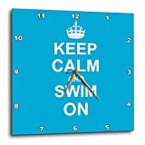3dRose dpp_157778_2 Keep Calm and Swim on Blue Carry on Swimming Hobby Or Pro Swimmer Gifts Pool Fun Funny Humor Wall Clock, 13 by 13-Inch