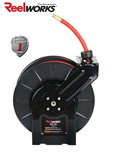 ReelWorks 28107153A Steel Retractable Air Compressor/Water Hose Reel with 3/8