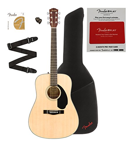 Fender CD-60S Solid Top Acoustic Guitar Bundle with Gig Bag, Strap, Extra Strings, Picks and 3 Months of Lessons on Fender Play