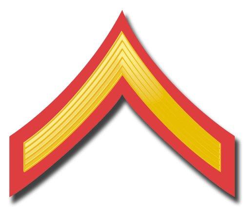 Military Vet Shop USMC US Marine Corps E-2 Private First Class RED/Gold Chevron Window Car Bumper Sticker Vinyl Decal 3.8