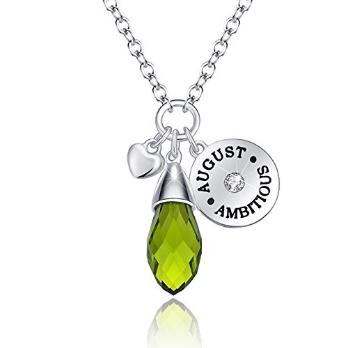 Simulated Peridot Birthstone Necklace Teardrop Pendant Elements Crystal August Birthday Gifts Valentine's Day Gifts for Women Girlfriend Wife Anniversary Gifts for Her Jewelry gifts For ()
