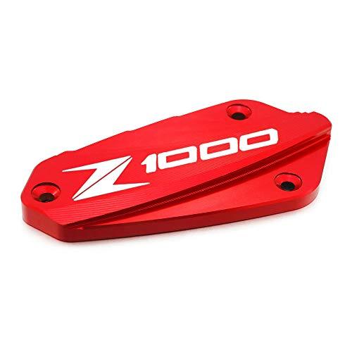 Heinmo Motorfiets CNC Voorrem Fluid Reservoir Cover Cap Voor Z1000 2010-2018 (Rood+Logo)