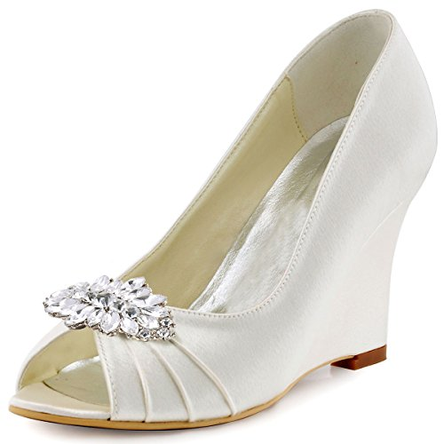ElegantPark EP2009AW Women Wedges Heel Pumps Peep Toe Rhinestones Removable Clips Satin Bridal Wedding Shoes Ivory US 8