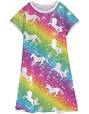 Enlifety Little Girls Dress Space Mermaid Rainbow Unicorn Dresses Summer Short Sleeve A-Line T-Shirt Sundress 3-11 Years