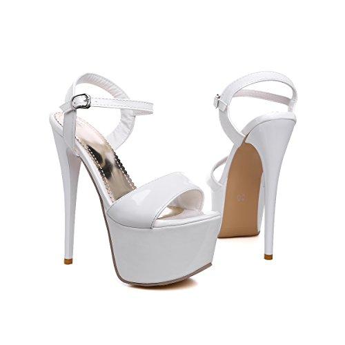 YE Damen Extrem High Heels Plateau Stilettos Lack Sandalen Ankle Strap Pumps Party Schuhe Weiß