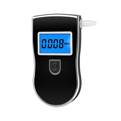 VersionTech Portable Easy-To-Use Breath Alcohol Tester Breathalyzer with LCD Display and Mouthpiece(Black)
