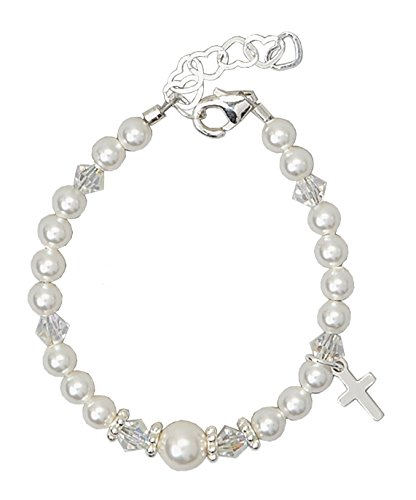 Swarovski Crystal Cross Charm - Christening Sterling Silver Cross Charm with White Swarovski Simulated Pearls and Crystal Keepsake Girl Bracelet (BCRS_S)