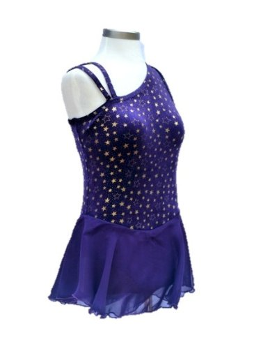 [Girl's Figure Skating Dress /Dance Costume in Asymetric Sholder Style (Purple, Child Large)] (Ice Skating Dress Costumes)
