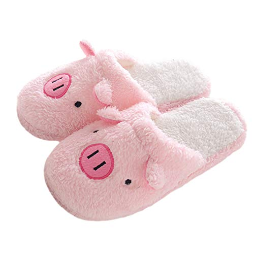 Winter Warm Men Women Indoor Shoe Couples House Slipper (M, Pink Pig) HX-YL49-NN2E
