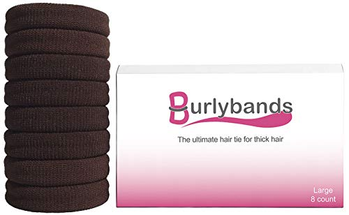 Burlybands - The Ultimate Hair Ties for Thick Heavy or Curly Hair. No Slipping Damage Breaking or Stretching Out. Seamless Ponytail Holders Scrunchies Sports Hair Ties for Thick Hair (Brown 8 Pcs)