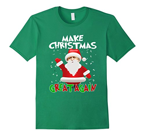 Men's FUNNY MAKE CHRISTMAS GREAT AGAIN T-SHIRT Donald Trump 2016 XL Kelly (Father Daughter Halloween Costumes 2016)