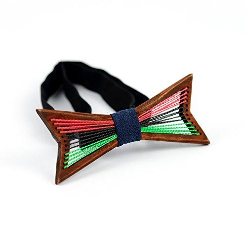 Wood Stripe Ash (Wooden Bow Tie OKTIE Original Black Pride Handmade For Men Red Wood Gift Box)
