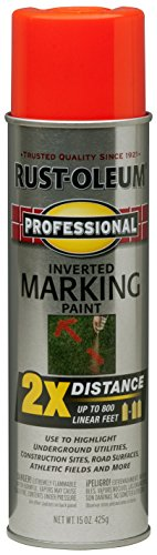 Rust-Oleum 266590 Professional 2X Distance Inverted Marking Spray Paint, 15 oz, Fluorescent Red Orange ()