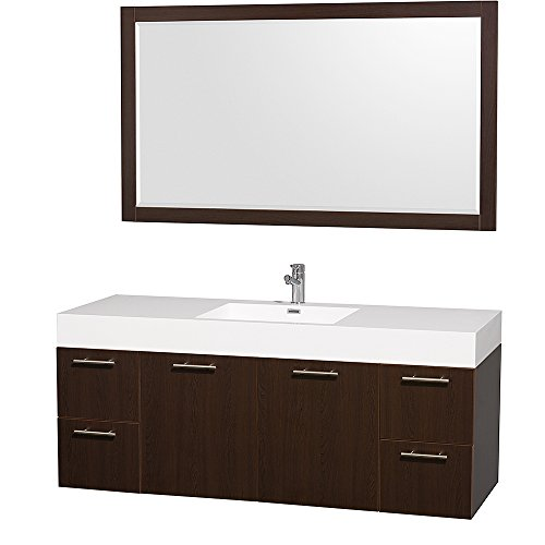 Amari Collection - Wyndham Collection Amare 60 inch Single Bathroom Vanity in Espresso with Acrylic-Resin Top, Integrated Sink, and 58 inch Mirror