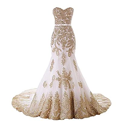 Fair Lady Elegant Gold Embroidery Lace Mermaid Wedding Dress 2019 Bridal Formal Evening Prom Party Gowns