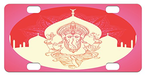 Asian Medallion (Elephant Mini License Plate by Ambesonne, Ancient Elephant Character with Asian Temple Medallion Yoga Zen Retro Style, High Gloss Aluminum Novelty Plate, 2.94 L x 5.88 W Inches, Red Pink Yellow)