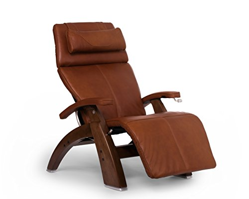 Human Touch Perfect Chair PC-420 Premium Full Grain Leather Hand-Crafted Zero-Gravity Walnut Manual Recliner, Cognac