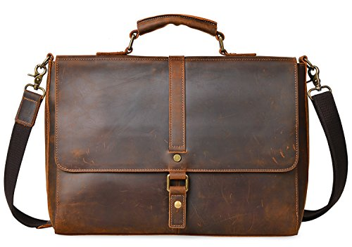 ALTOSY Vintage Genuine Leather Business Laptop Briefcase Office Shoulder Bag 8127 (Brown) by Altosy