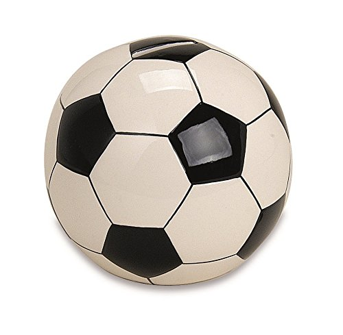 Spardose FUSSBALL ca. 13CM mit Schlüssel aus Keramik