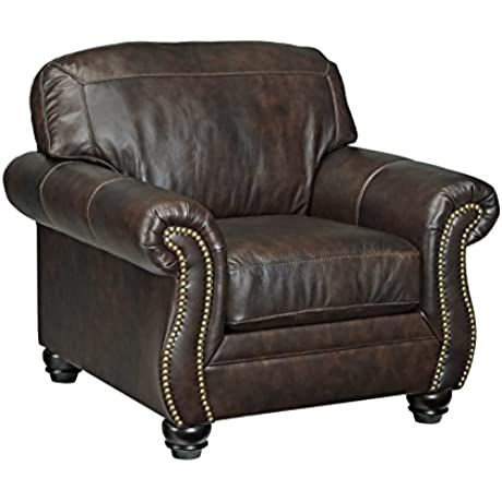 Ashley Bristan Collection 8220220 Living Room Chair With Leather Upholstery Stitched Detailing Nail Head Accents Rolled Arms And Traditional Style In