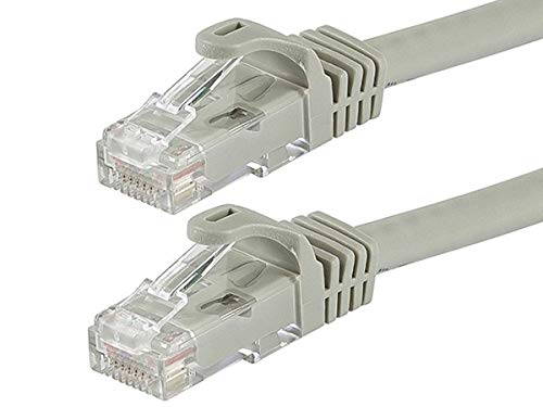 Monoprice Flexboot Cat6 Ethernet Patch Cable - Network Internet Cord - RJ45, Stranded, 550Mhz, UTP, Pure Bare Copper Wire, 24AWG, 50ft, Gray (50ft Networking Cable)
