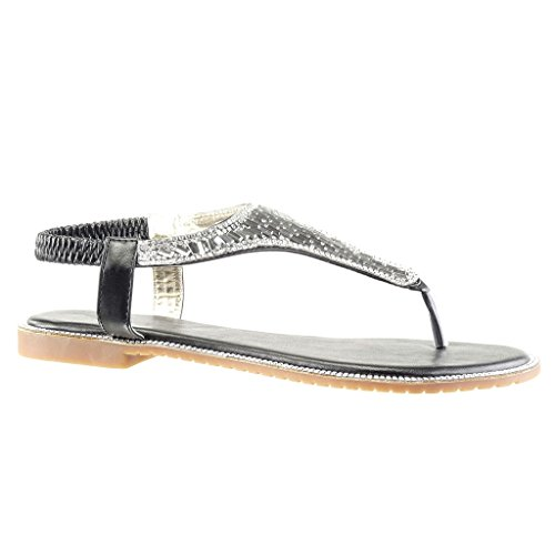 Angkorly Women's Fashion Shoes Sandals Flip-Flops - t-Bar - Jewelry - Rhinestone Block Heel 1 cm Black