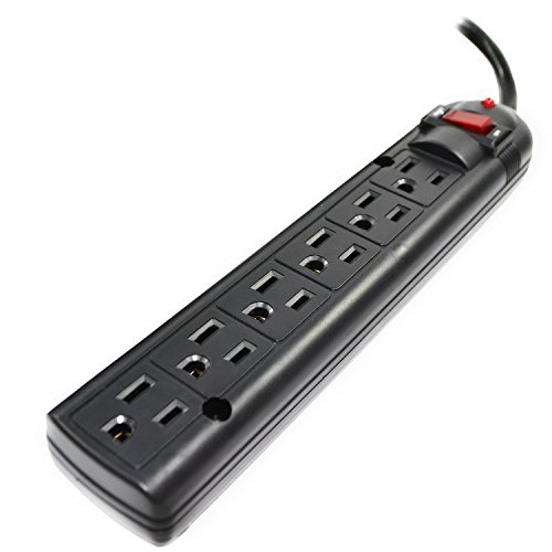 Weltron 6 Outlet Black Surge Protector Power Strip Wall