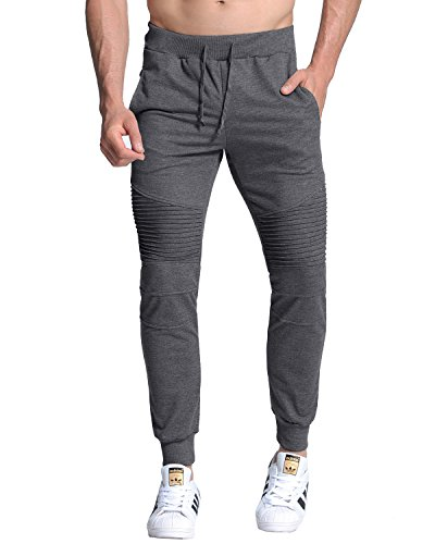 MODCHOK Men's Jogger Sweatpants Running Pants Sports Trousers Slim Fit Tracksuit Dark Grey M