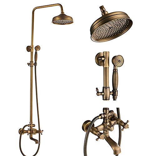 Votamuta Antique Brass Bathroom 8-Inch Rain Shower Faucet Wall Mount Dual Cross Handle Bathtub Shower Mixer Tap with Hand Sprayer