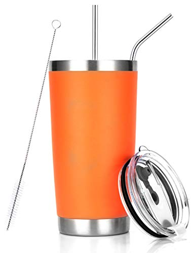 20oz Orange Tumbler Stainless Steel Insulated Travel Mug with Straw Lid Cleaning Brush