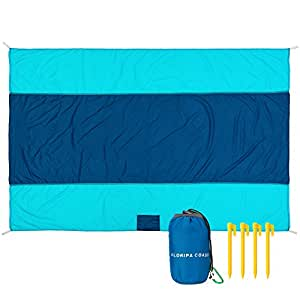 """Best Pocket Blanket - Compact, Picnic, Beach, Outdoor Packable 78"""" x 55"""" Made From Premium Soft Lightweight Waterproof Material Ideal for Camping/Hiking with Practical Pouch ,4 Hooks + Free Carabiner"""