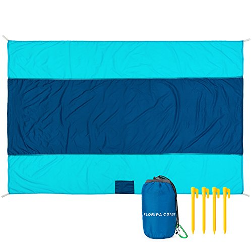 "Best Pocket Blanket - Compact, Picnic, Beach, Outdoor Packable 78"" x 55"" Made From Premium Soft Lightweight Waterproof Material Ideal for Camping/Hiking with Practical Pouch ,4 Hooks + Free Carabiner"