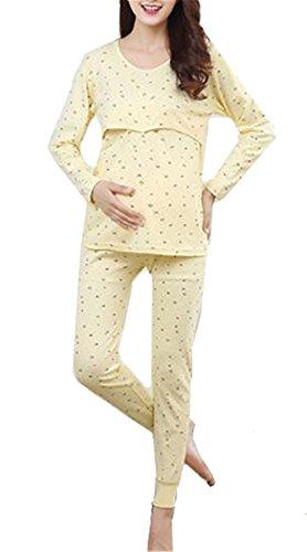 Due Allentato Donna Oversize Pigiama Deluxe Notte Aivosen Yellow Maternity A Da Camicie Allattamento Pezzi Morbidi x4XgfqH