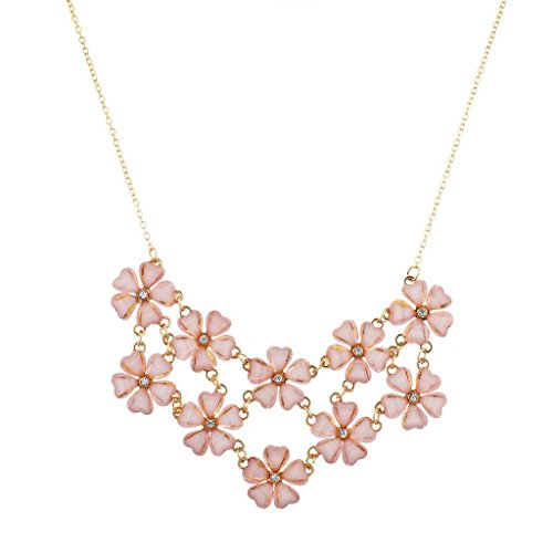 Lux Accessories Gold Pink Stone Cluster Mini Floral Flower Collar Chain Statement Necklace