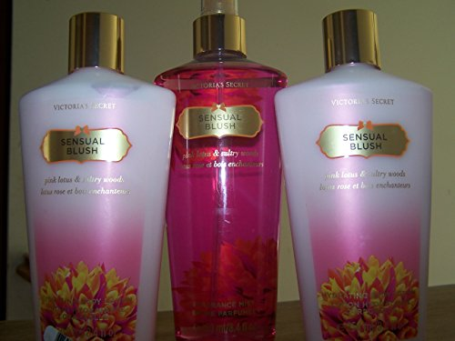 ecd8e1dc3a0 3 Piece Victoria s Secret Sensual Blush Pink Lotus   Sultry Woods Fragrance  Gift Set- Body Lotion and Fragrance Mist (Sensual Blush) - Buy Online in  UAE.